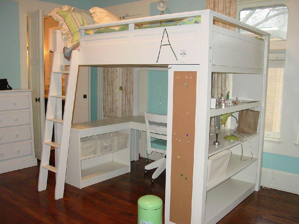 Image 1 Pottery Barn Sleep Study Loft Bed White Wooden With Computer