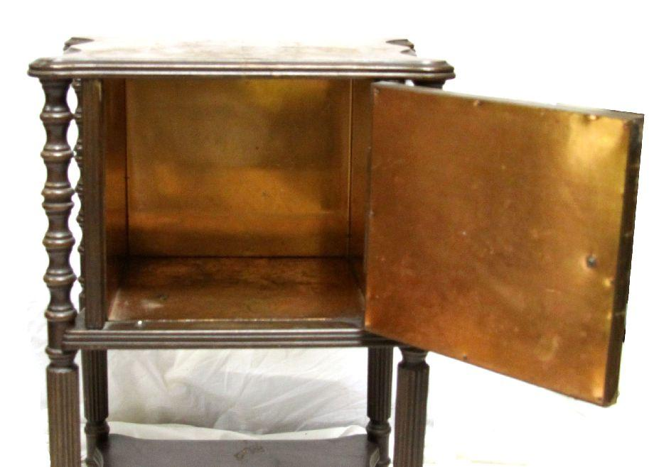 Vintage Smoking Stand With Copper Lined Humidor - Antique Copper Lined Smoking Cabinet Www.resnooze.com