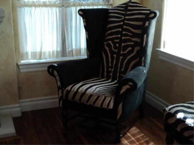 Wingback Chair Leather Zebra Hide Upholstered Print Sequence 61 Loading Zoom